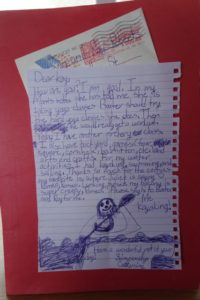 A SPECIAL LETTER FROM MY GRANDDAUGHTER AT Y CAMP